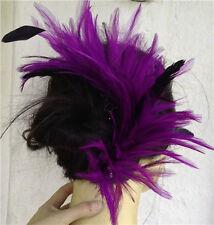 purple black feather fascinator comb hair clip headpiece wedding party piece