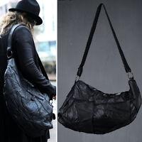 ByTheR Men's Chic Black Fashion Casual 1089 Leather Grunge Shoulder Cross Bag