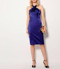 NEW BNWT KAREN MILLEN blue satin halterneck dress wedding Size UK 10 EU 36
