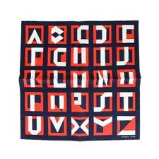 Hermes Scarf Lettres Au Carre 45 Deco Alphabet Blanc, Marine and Rouge