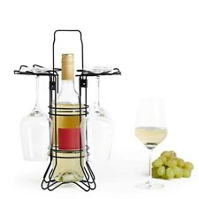 VonShef Wine Glass and Bottle Holder Dining Outdoor Picnic Camping Parties Rack