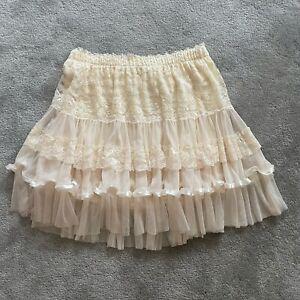 Women's Halloween Costume Beige Ivory Mesh Petticoat Tutu Skirt S