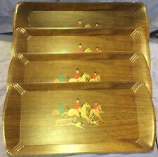 Fox Hunting Haskelite Rectangular Wood Grain Set of Four Serving Trays #3