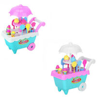 19Pcs Set Ice Cream Trolley Cart Plastic Pretend Play Food Dessert Toy for  X9S7
