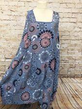 Sommer Leinen Kleid Lagenlook Übergröße Tunika Gr. 46 48 50 Neu blau Damenmode
