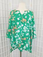 Lane Bryant Green Beige Floral Flutter Sleeve Plus Size 18/20 Shirt Top Blouse