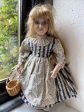 70s Laura Ashley Hippy Chick Farm Maid Doll Porcelain Doll + Basket Eggs C 470mm