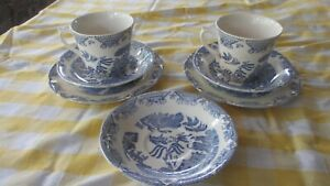 2x Vintage Cup Saucer & Plate Willow Pattern  by  JAS Broardhurst & sons England