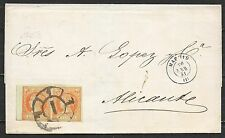 Spain covers 1861 4c PAIR folded cover Madrid to Alicante