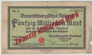 Braunschweig - Staatsbank - Inflation 1923 - 20 Milliarden Mark