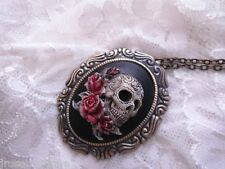 #JRJ825 SUGAR SKULL ROSE GOTHIC STEAMPUNK NECKLACE PENDANT BROOCH  ARTIST TATTOO