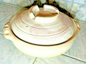 "Vintage Japanese Clay Pot Donabe 3000ml 11""x4"" Large"