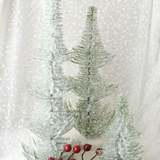 """Holiday Frosted Pine Trees Tabletop Decor 12"""" 18"""" 20"""" Set of 3 Green 0999RM"""