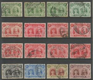 Rhodesia 1910 Double Heads selection, values to 6d