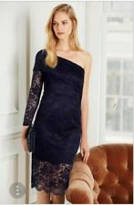 BEAUTIFUL NEXT NAVY LACE ONE SHOULDER BODYCON FITTED DRESS SIZE 18 NEW