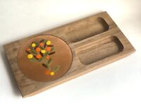 Vintage Midcentury Modern Enamel Walnut Charcuterie Board | MCM Kitchen Decor