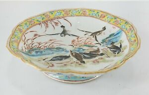 Antique Chinese Republic Style Tazza Bowl Bird Duck Decoration Tongzhi Straits