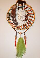 Native American Dream Catcher, Double Ring, Feather, Turtle, USA