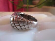 Fine Basketweave Dome Band Sterling Silver 925 Ring 10grams Sz.6 Chunky Large