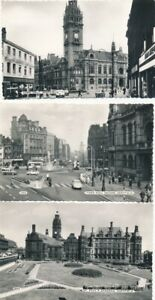 YORKSHIRE SHEFFIELD 3 1950s STREET SCENES BY BAMFORTH REAL PHOTO POSTCARDS