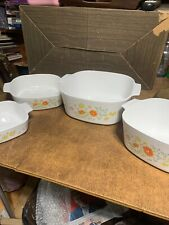 Vintage Corning Ware Lot 3 Wildflower Dishes Plus Extra