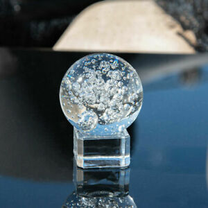 40MM Crystal Glass Bubble Ball Healing Sphere Photography Props With Stand Decor