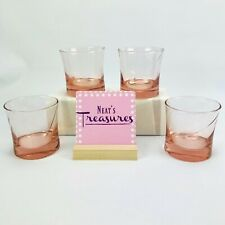 Rose Pink Glass Old Fashion Weighted Base Swirl 8 oz Drinking Glasses Set  4