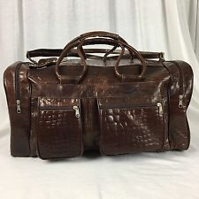 Handmade Duffle Gym Overnight Travel Bag Carry On Leather Tote Emna Brown Medium