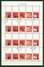 Poland 1969: Cancelled Sheet #1665-69; 4 Rows, 5 Stamps,Folded Center -Lot#5/20