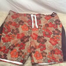 NWT Joe Boxer Mens Board/Swim Shorts-2XL XXL Lined Brown Floral