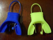 """2 SCUBA Mouthpieces & matching ties """" Brand New Blue and Yellow"""" Made in AMERICA"""