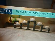 WAYLAND SQUARE 6 PIECE TIERED WOOD VOTIVE CNADLE HOLDER NEW IN BOX