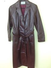 Vintage 60s 70s Northside sz 9 Brown Lined Leather  usa made Long Coat Jacket
