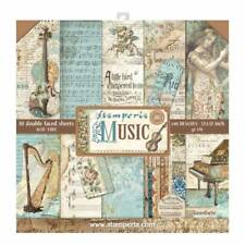 Stamperia Music 12 x 12 Paper Pack - NEW RELEASE Violin Piano Postcards Notes