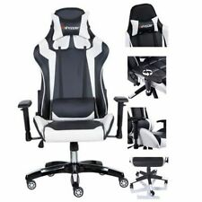 Chaise Gamer Bureau Gaming Racing PC Chaise Blanc Noir Siege Baquet Fauteuil FR