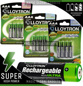 Lloytron AAA Rechargeable Batteries NiMH HR03 Cordless Phone 550 900 1100mAh