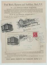 SUPER -Advertising LOT Billhead Flyer & Cover - Moris Horse Saddles Bath NY 1891