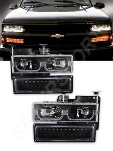 Black Headlights w/ U Bar + LED Signal Lights for 1988-1999 GM C/K Full Size