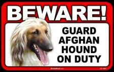Beware Guard Afghan Hound On Duty Dog Laminated Warning Sign Usa Made