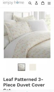 $72 ienjoy Home From Nordstrom Duvet Cover Set Patterned Leaves Full/Queen NEW
