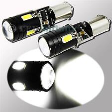 2x White Bax9s No Error 9W CREE LED 4-SMD Parking & Backup Light 64132 64136