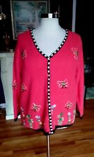 Quacker Factory  Orange Sweater  Sequinned Bees & Floral Design Size 1X NNTGS