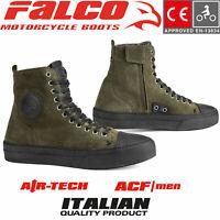 FALCO LENNOX Motorrad Sneaker Herren Leder weich Schuhe army grün Protektoren CE