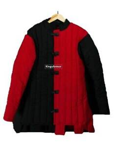 HALLOWEEN Black Red Medieval Gambeson Padded Armor SCA LARP WMA All Size