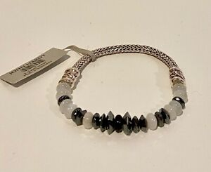 JOHN HARDY Classic Chain Rainbow Moonstone Onyx Sterling Station Bracelet    NEW