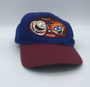 Vintage 1997 Rugrats Nickelodeon Tommy & Chuckie Snap Back Hat Blue Red