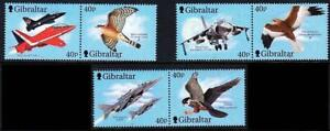 GIBRALTAR 2001 FIGHTER PLANES & BIRDS of PREY MNH AVIATION, MILITARY, FALCONS