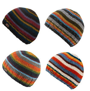 Kusan 100% Wool Striped Pull-on Beanie Hat One Size Choice of Colours