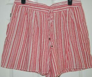 NWT Terra & Sky Women Plus Red & White Striped Linen Pull-On Shorts Size 0X 14W