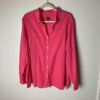 Talbots Women's Blouse Size 3X Top Shirt Textured Pink Cotton Casual Work Career